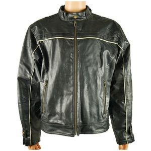 Arizona Jeans Mens Faux Leather Cafe Racer Jacket